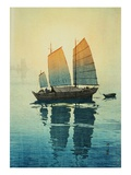 Morning, from a Set of Six Prints of Sailing Boats Reproduction procédé giclée par Hiroshi Yoshida