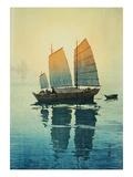 Vue d'un bateau au matin Reproduction procédé giclée par Yoshida Hiroshi