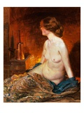 Nude Figure by Firelight Giclee Print by Guy Rose