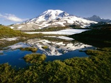 Alpine Lake Reflecting Mt. Rainier Photographic Print by Craig Tuttle