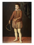 Italian Baroque Portrait of Boy with Racquet and Ball Giclee Print by Geoffrey Clements