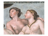 Detail of Two Graces from the Loggia of Cupid and Psyche Reproduction procédé giclée par  Raphael