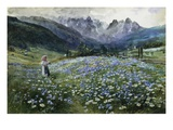 An Alpine Meadow Giclee Print by John MacWhirter