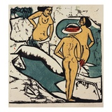 Women Bathing Between White Rocks Giclee Print by Ernst Ludwig Kirchner