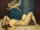 Danae and the Golden Shower Photographic Print by Franz von Stuck