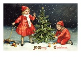 A Merry Christmas with Two Children Decorating Tree Stampa giclée di K.J. Historical