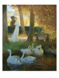 A Couple and Swans Giclee Print by Gaston De Latouche
