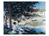 On the Bank of the Seine, Bennecourt, 1868 Premium Giclee Print by Claude Monet
