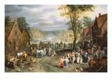 A Village Street with Peasants and Travelers, A Canal Beyond Giclee Print by Jan Brueghel the Younger