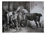 Farrier at Work Lithograph from Etudes de Cheveaux Giclee Print by Théodore Géricault