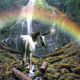 Unicorn Walking Towards Waterfall Photographic Print by Buddy Mays