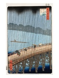 Ohashi, Sudden Shower at Atake Giclee Print by Ando Hiroshige