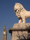Lion Statue with Big Ben Photographic Print