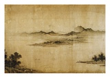 Detail Showing Mountains and Water from a Jin or Yuan Dynasty Painting entitled Clear Weather in th Reproduction procédé giclée par Dong Yuan