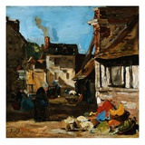 Honfleur, the Place of the March of Saint Catherine Giclee Print by Eugene Louis Boudin