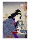 Looking as if She Wants to Change: The Appearance of a Proprietress of the Kaei Era Premium Giclee Print by Taiso Yoshitoshi