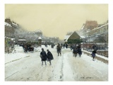 Paris under Snow Premium Giclee Print by Luigi Loir