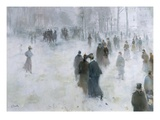 A Walk in the Snow Premium Giclee Print by Lucien Frank