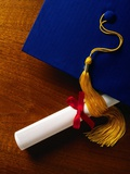 Diploma and Cap Photographic Print by Mark Karrass