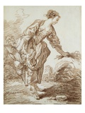 A Shepherdess Picking Flowers Giclee Print by Hubert Robert