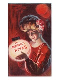 A Merry X Mas with a Woman Holding a Snowglobe Giclee Print