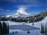 Lake and Mount Rainier Photographic Print by Mark Karrass