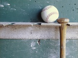 Baseball and Bat on Rack Photographic Print by Lawrence Manning