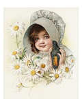 Color Lithograph of a Child with a Bird and Daisies by Maud Humphrey Giclee Print