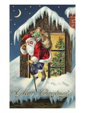 A Merry Christmas with Santa Claus on Roof Giclee Print