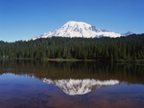 Lake Reflecting Mount Rainier Photographic Print by Robert Glusic