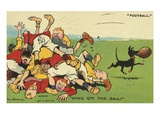 Postcard Cartoon of Rugby Match Giclee Print by Rykoff Collection