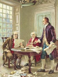 """The Drafting of the Declaration of Independence"" Trade Card After Painting by Jean Leon Germome Fe Photographic Print"