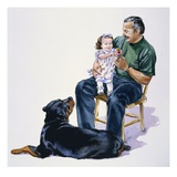 Carl Watching a Father and Daughter from Carl&#39;s Baby Journal Giclee Print by Alexandra Day