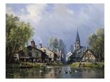 A Busy Riverside Village Giclee Print by Charles Euphrasie Kuwasseg