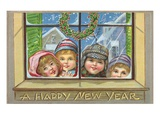 A Happy New Year of Children Peeking Through a Window Giclee Print