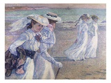 A Walk on the Beach Giclee Print by Theo van Rysselberghe