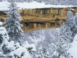 Snow Blankets Spruce Tree House Anasazi Cliff Dwelling at Mesa Verde National Park Photographic Print by George H.H. Huey