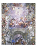 Detail of Heaven and Angels from The Glorification of Saint Ignatius Giclee Print by Andrea Pozzo