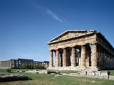 Exterior of the Temple of Neptune and Basilica of Paestum Photographic Print by Araldo Luca