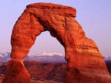 Delicate Arch and Surrounding Mountains Photographic Print by ML Sinibaldi
