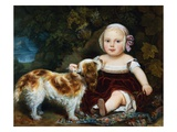 A Young Child with a Brown and White Spaniel by a Leafy Bank Giclee Print by Amila Guillot-saguez