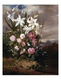 A Still Life of Flowers and Butterflies Giclee Print by Joseph Schuster