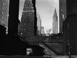 Trolley Car Beneath a Bridge Fotografie-Druck von Brett Weston