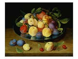 Plums and Peaches on a Pewter Plate by Jacob van Hulsdonck Giclee Print