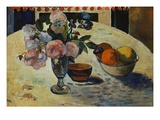 Flowers and a Bowl of Fruit on a Table Giclee Print by Paul Gauguin