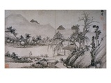 Figure Crossing a Bridge from Album of Eight Landscape Paintings Giclee Print by Shen Chou