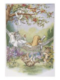 Illustration of Relaxing Cats from Pussy-Willow's Naughty Kittens Giclee Print by Lillian E. Young
