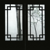 Trees Seen Through House Windows in Pingyao Fotografie-Druck von Robert van der Hilst