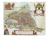 Gandavum, Map of Ghent Premium Giclee Print by Jan Blaeu