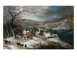 A Winter Landscape with Figures on a Road by a Village Giclee Print by Joos De Momper The Younger